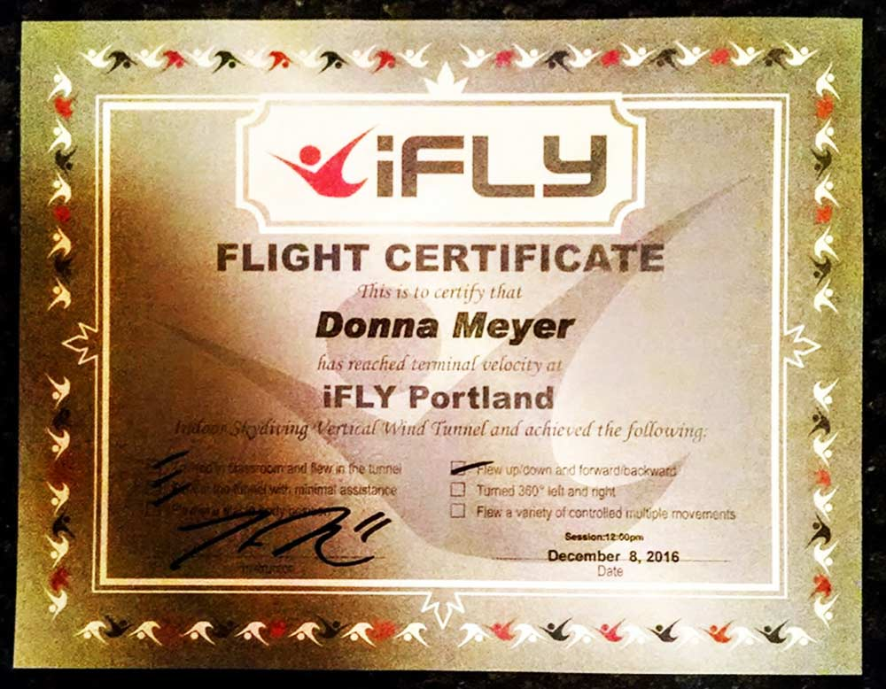 My flight certificate, proof I went indoor skydiving with iFly Portland.