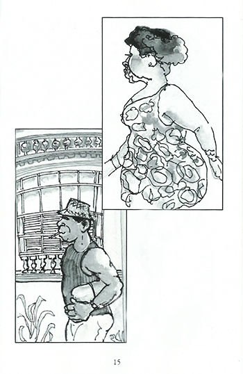 Sketch from Ms. Baross Goes to Cuba - Cubans know how to stroll!