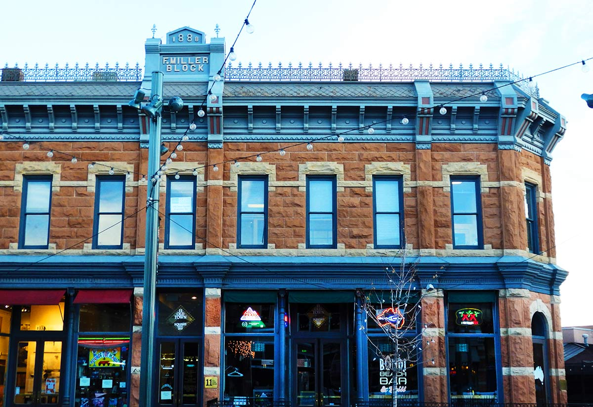 The F.Miller Block, a restored 19th-century building in Downtown Fort Collins, Colorado.