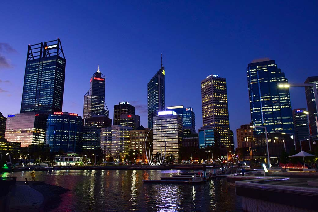 A Twilight view of the skyling of Perth, Australia shows one reason it's called The Pretty City.
