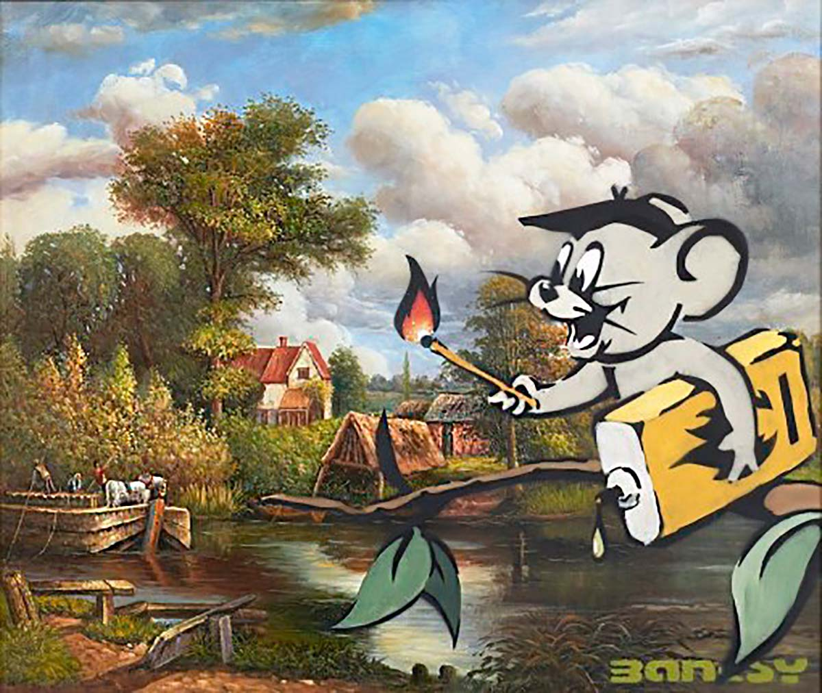 """Beanfield"" is one of Banksy's largest work, a classical pastoral village scene overlaid with a cartoon mouse about to set the world on fire."