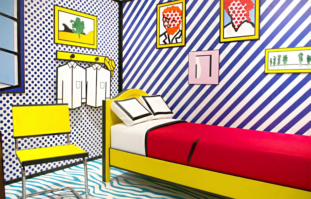 "At Moco Museum, Lichtenstein's ""The Artist's Bedroom at Arles"" is a bold, ""cleaned-up"" version of the famous van Gogh painting, with strong primary colors, bold lines, and a diagonally striped wall."