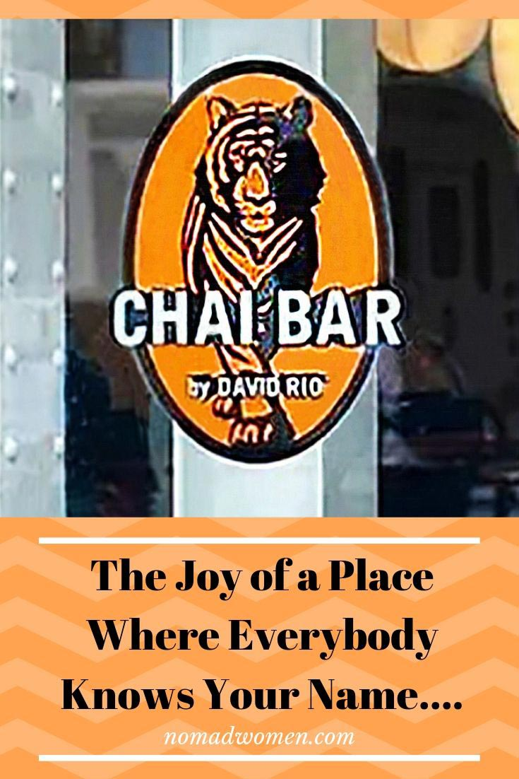pin - The joy of a place where everybody knows your name - David Rio Chai Bar Logo