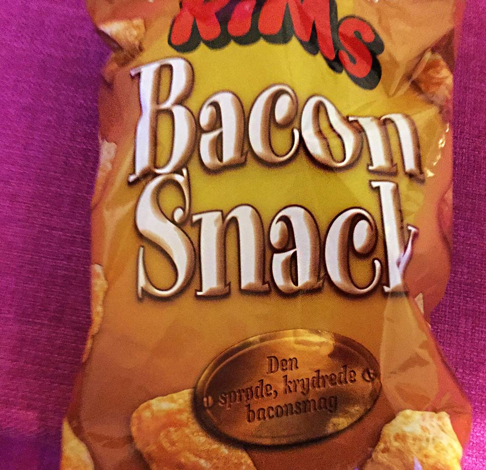 "A bag od Danish ""Bacon Snacks"""