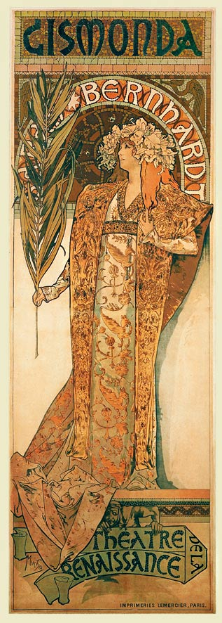 The Sarah Bernhardt poster for Gismondo, her gown in shades of gold, as seen at the Mucha Museum, Prague.