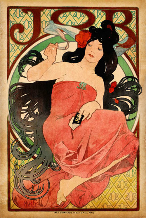 An advertising poster for JOB cigarette papers, it features a woman in a strapless red gown with exaggerated long black hair that flows around her in waves. She holds a cigarette in one hand.