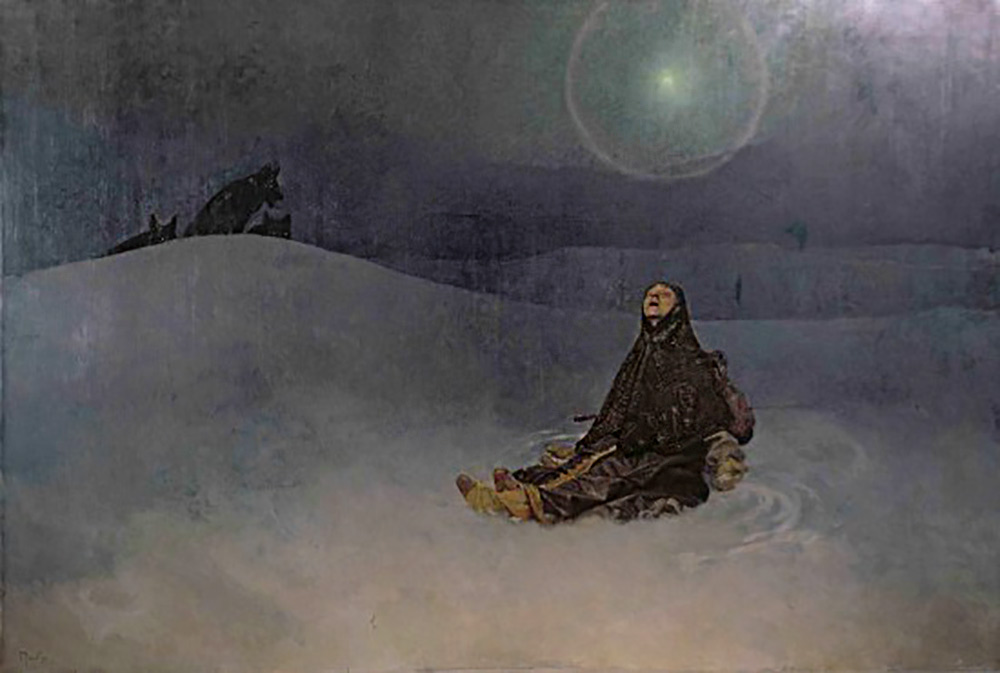 "Mucha's painting ""Woman in the Wilderness,"" also called ""Star"" and ""Siberia."" A field of snow and a blue-gray night sky with a single bright star lighting a Russian peasant woman wrapped in a shawl sitting on the ground."