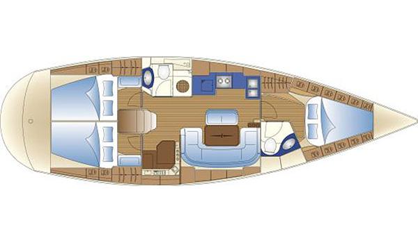 Plattegrond van de Bavaria 42 Cruiser