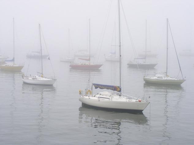 Op het Wad de mist in