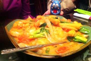 Yellow Curry Jumbo Shrimp from Young Chow