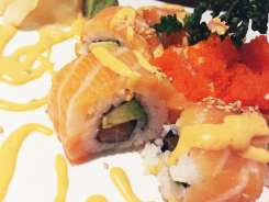 Orange Blossom Sushi Roll $13 @ Cho Oishi Los Angeles California