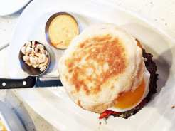 English Muffin Blue Cheese Burger @ Counter in Reston Town Center, Virginia