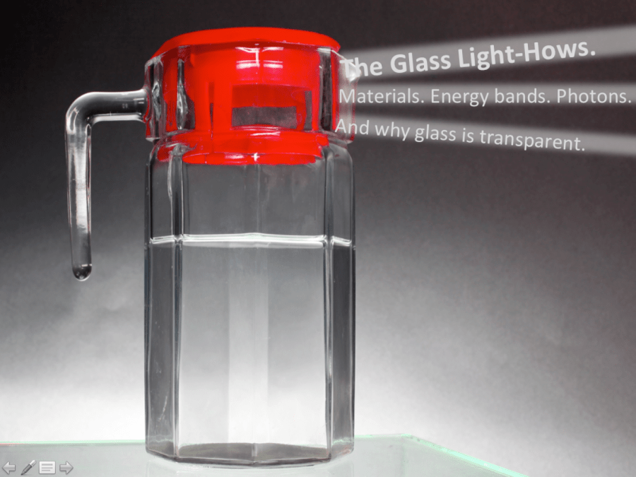 Glass pitcher with light rays of words radiating outwards like a light house