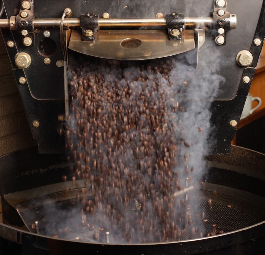 Freshly roasted coffee beans from a roaster being poured into the cooling cylinder.