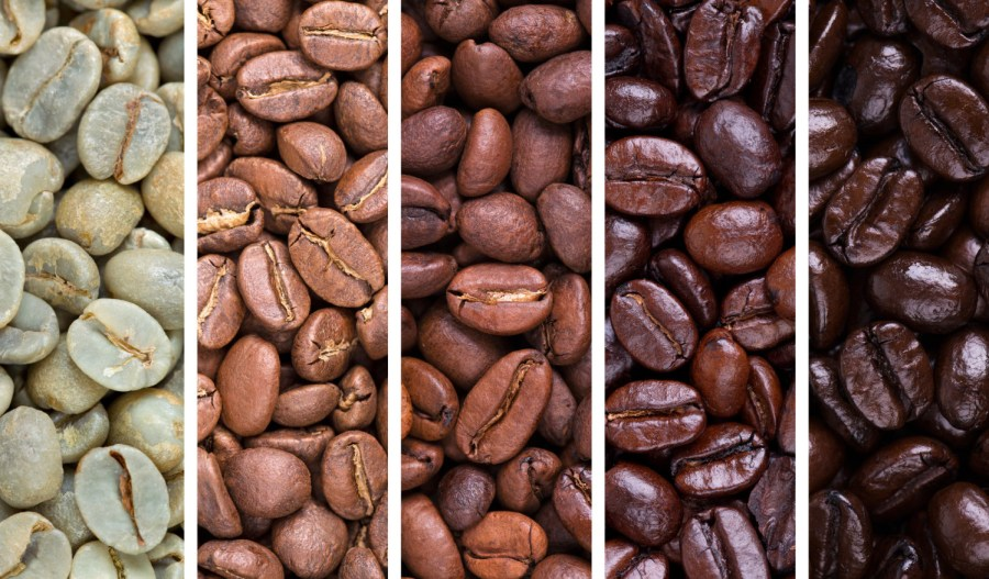 Roasting coffee - A collage of coffee beans showing various stages of roasting from raw through to Italian roast
