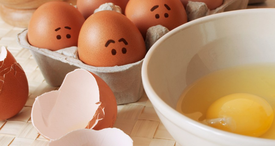 Frightened eggs in a paper carton wait, when from them will prepare an omelette