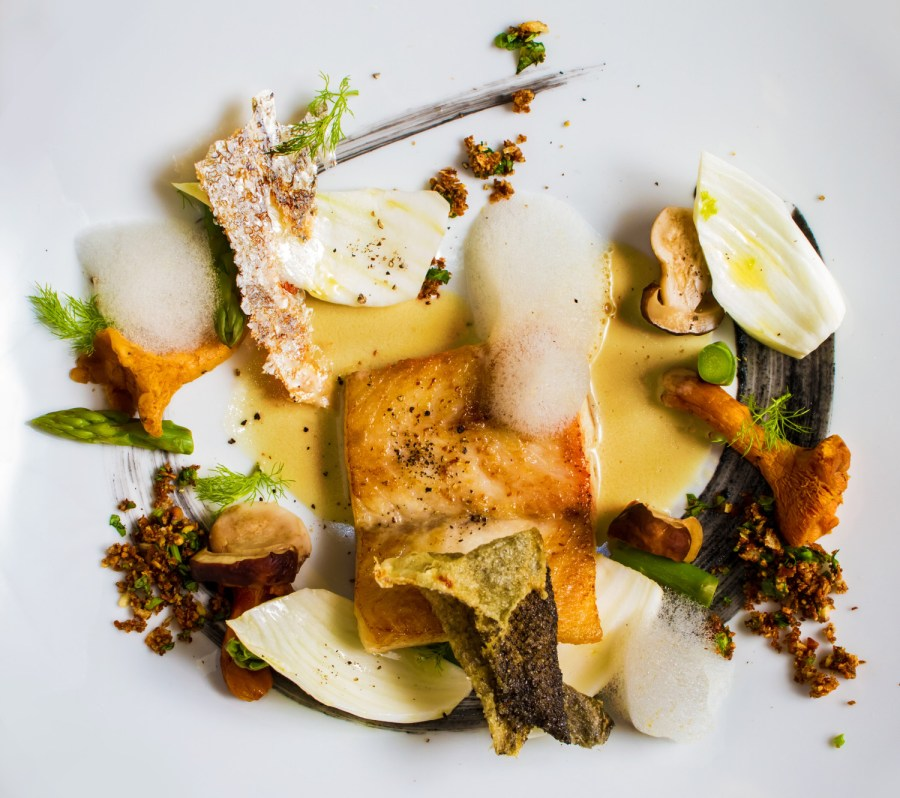Modern plating of sea bass with asorted mushrooms, asparagus, nuts and dill, on a white plate