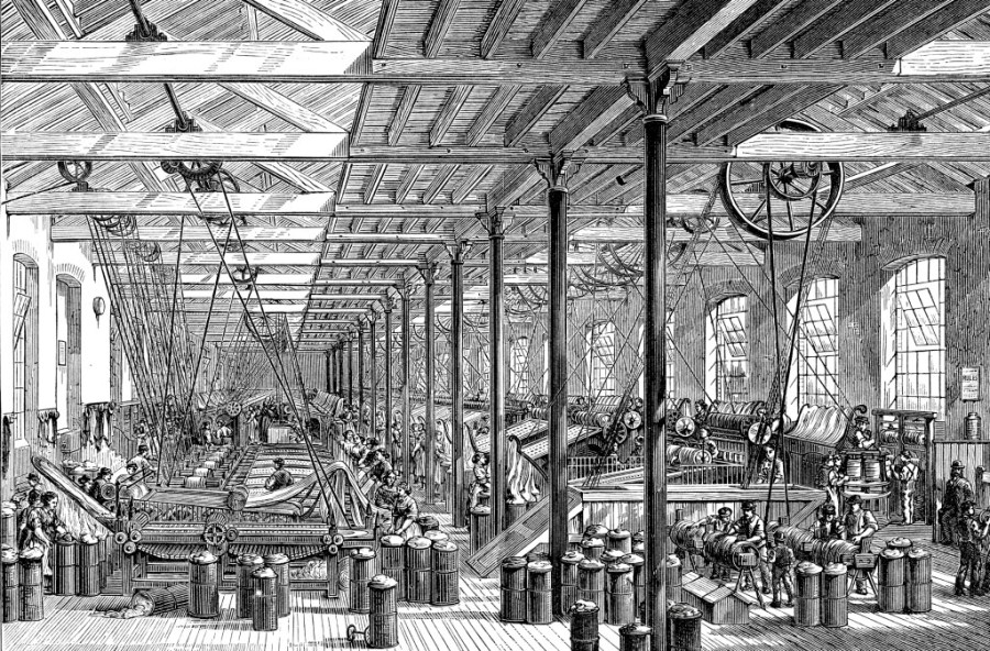 Vintage engraving from 1878 of the spinning room in Shadwell rope works