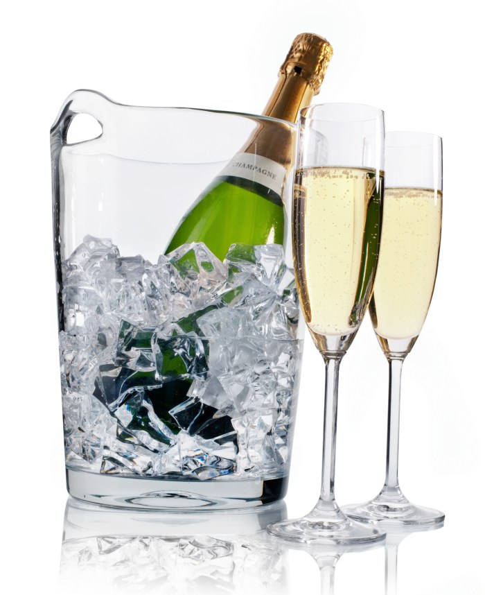 Latent heat is why we use an ice bucket (and not just cold water) Champagne in ice cooler and two champagne flutes