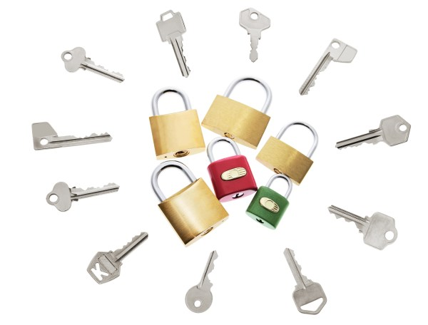 enzymes and lock and key model - Locks and Keys on Isolated White Background