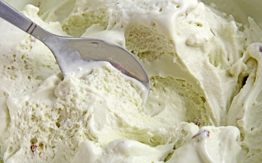 freezing and melting ice cream results in large ice crystals and ice cream that is less smooth - hence the need to use freezing point depression