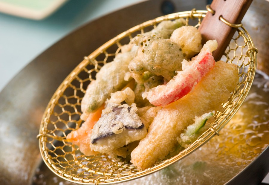 Cooking Tempura Of Vegetables