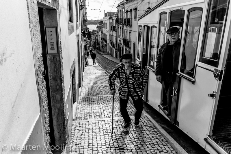 black and white old man on street Lisbon