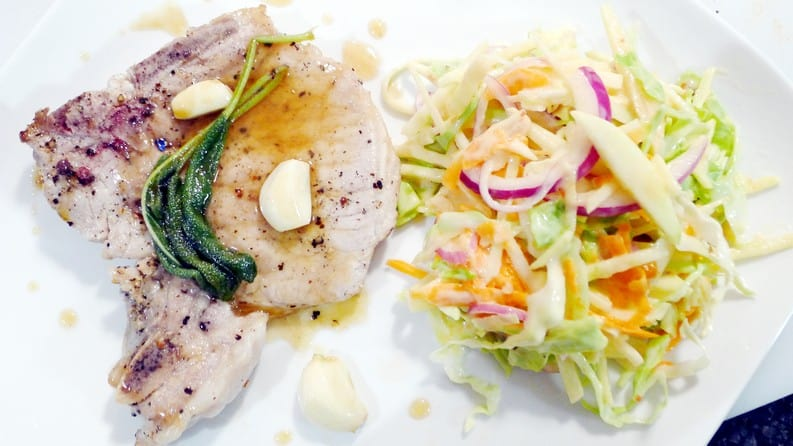 Pure Infused Maple Syrup Pork Chop Recipe and Apple Slaw Recipe