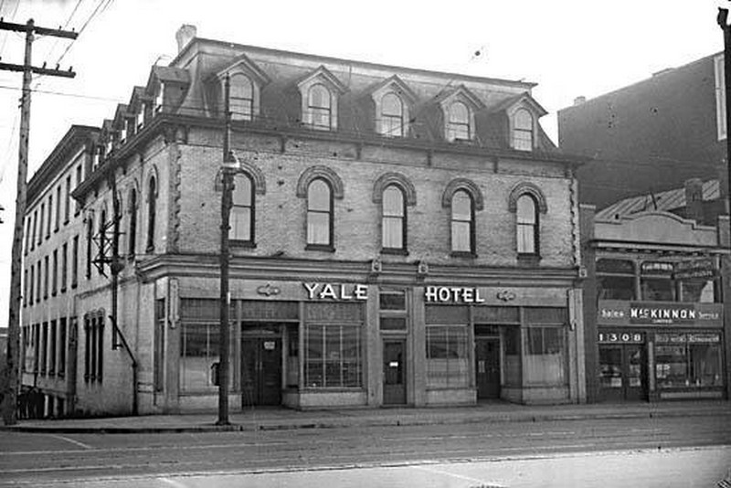 The Yale Hotel opened in 1889 to provide housing to Canadian Pacific Railway workers. CITY OF VANCOUVER ARCHIVES