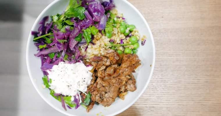 TURKISH SPICE BEEF FREEKAH BOWL WITH PICKLED CABBAGE