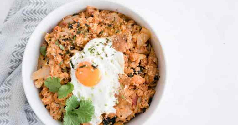 Kimchi Cauliflower Fried Rice | Vegan, Vegetarian