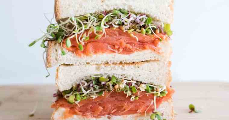 Smoked Salmon Sandwich with Sprouts, Capers Creamy Dill Cream Cheese