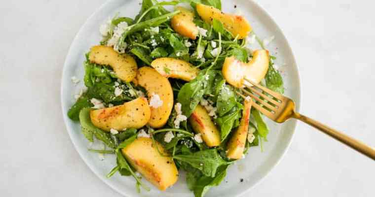 Summer Peach Arugula Salad with Elderflower Vinaigrette and Crumbled Feta Cheese