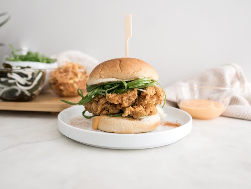 double-fry Padak Korean Fried Chicken Burger