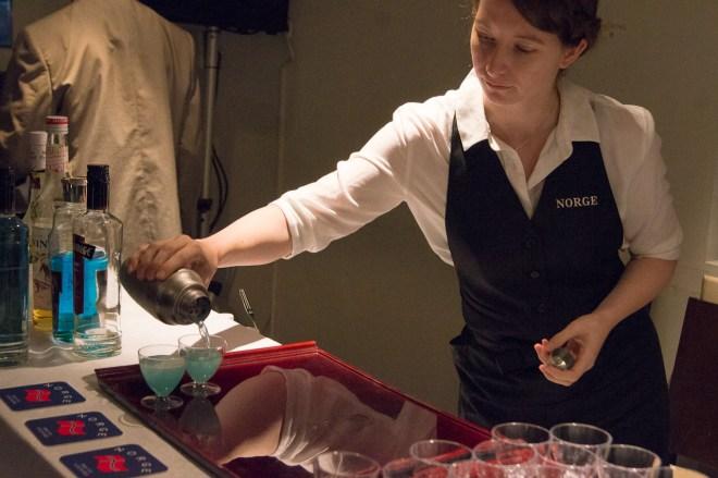 "Bar Norge's ""Yokohama Soul"" -20ml Viru Vilge Cherry -20ml Marie Brizard Charleston Blue -10ml lime juice -5ml Marie Brizard Coconut liqueur -5ml Monin Vanilla syrup"