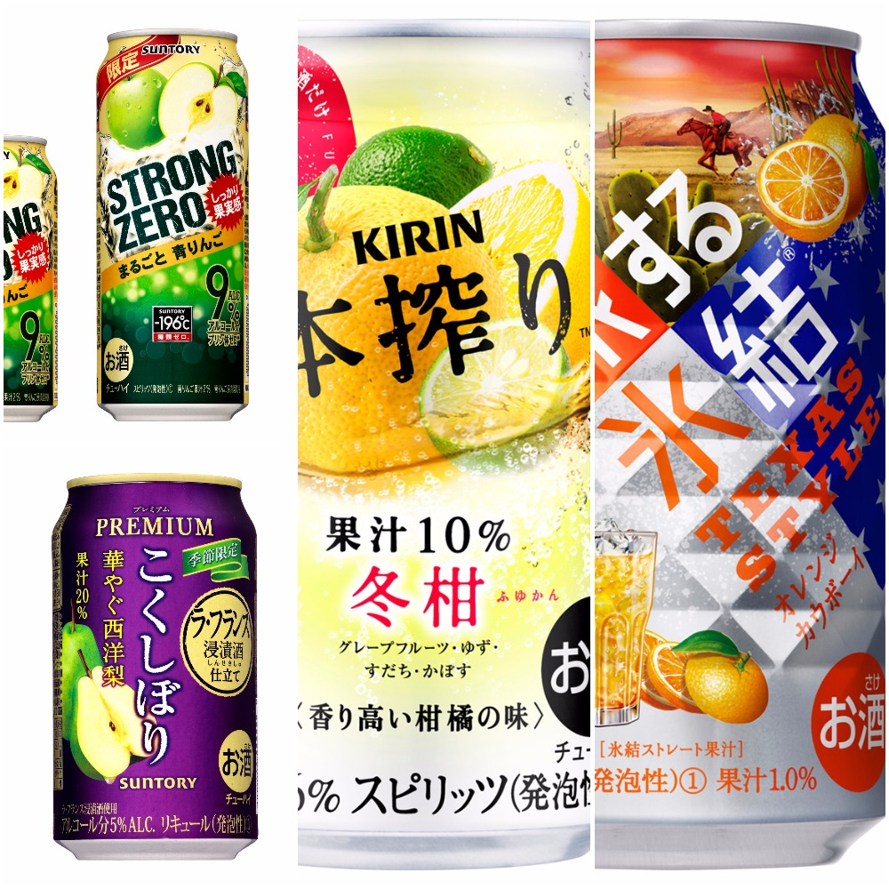 Chuhai Watch: -196°C Strong Zero Green Apple, Kokushibori Pear, Honshibori Citrus, Hyoketsu Orange Cowboy