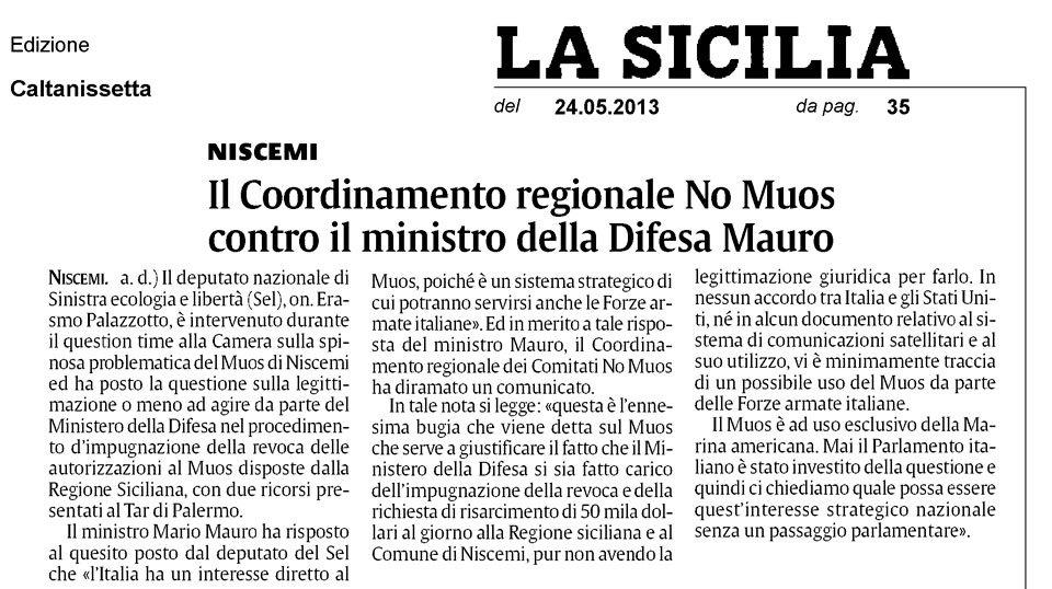 Il Coordinamento regionale No Muos contro il ministro della Difesa Mauro