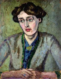 Retrato da autora por Roger Fry. Destaque na ficção, Woolf também escrevia ensaios e resenhas para periódicos londrinos