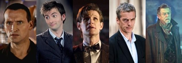 Doutores do revival: 9º (Christopher Eccleston), 10º (David Tennant), 11º (Matt Smith), 12º (Peter Capaldi) e o Doutor de Guerra (John Hurt).