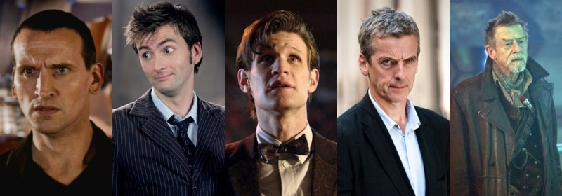 Doutores do revival: 9º (Christopher Eccleston), 10º (David Tennant), 11º (Matt Smith), 12º (Peter Capaldi) e o Doutor de Guerra (John Hurt).
