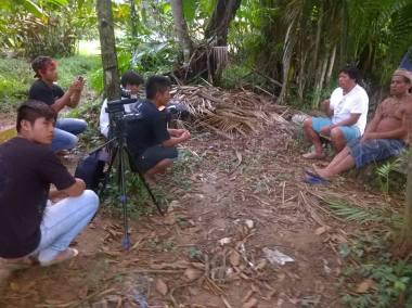 Gravação de documentário em aldeias guaranis de São Paulo (Foto: divulgação)
