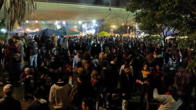 Um dos primeiros Cumbia na Rua, no viaduto da João Pessoa (Foto: reprodução)