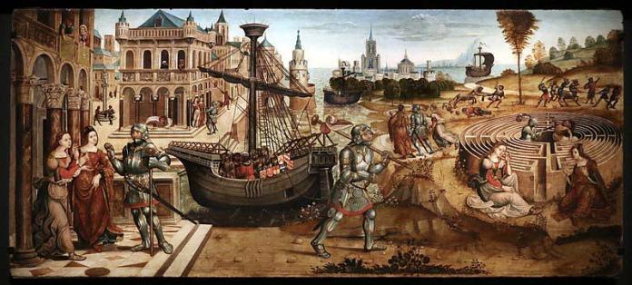 Maestro dei cassoni campana, teseo e il minotauro, 1510-15 ca.