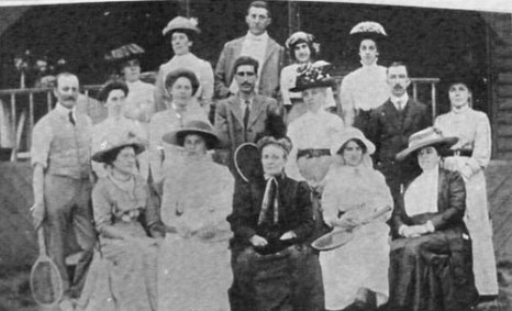 Tennis at Fredville circa 1920. Will Harvey, son of local seed-merchant John Harvey is in the centre of the back row