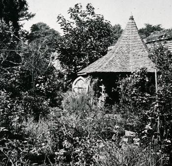 The Cedar Hut in the walled garden.