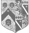 1581 Brass shield in Nonington Church. The arms of Wilsford impaling Simpson.