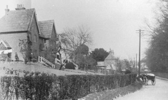 The three houses on the west side of The Drove in lower Holt St., early 1900's.