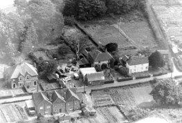 The garage area seen from the air, early 1960's