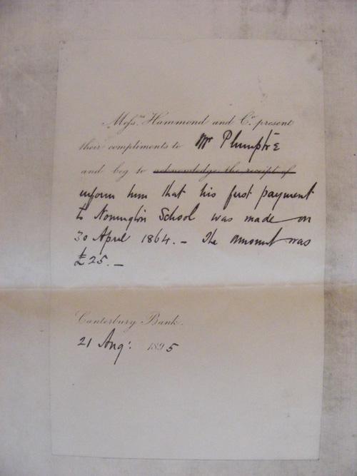 1895 Hammond to Plumptre School letter