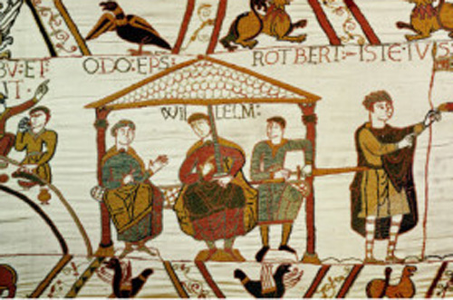 Bishop Odo, William I, and Robert de Mortain. From the Bayeaux Tapestry.